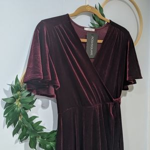 NEW Soprano Wine Velvet Faux-Wrap Midi Dress